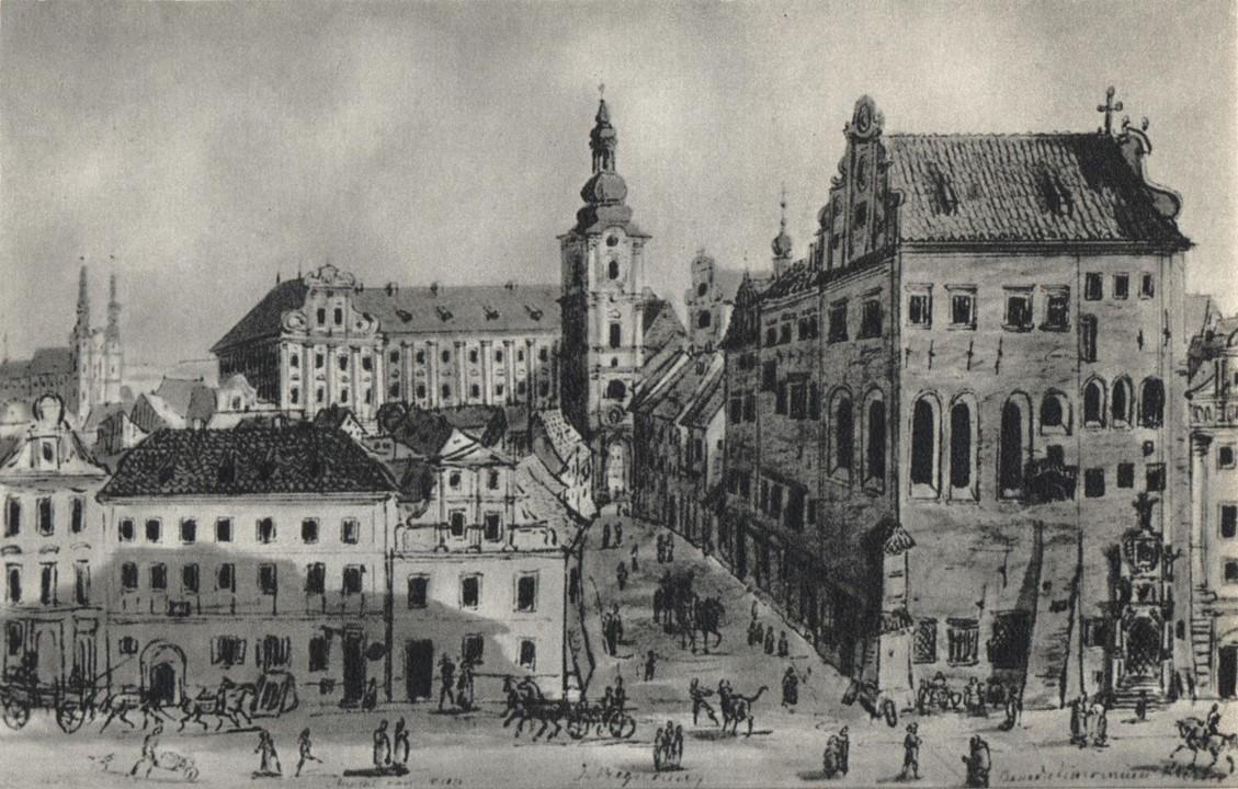 Rycina z widokiem na Pałac Górków od ulicy Klasztornej